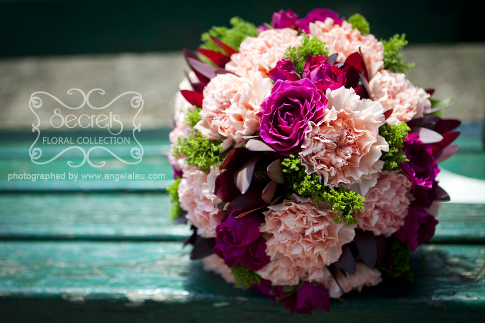 Fresh Pink Carnations Fuchsia Spray Roses Burgundy Leucadendron Green Trachelium Bridal Bouquet