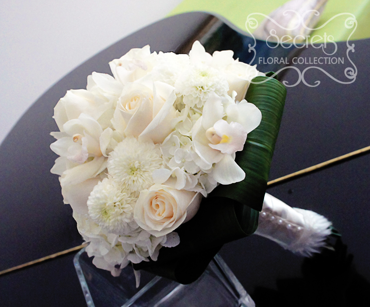 Fresh White Cymbidium Orchids Cream Roses Ice Cap On Mums And Hydrangea Bridal Bouquet With Fur Trim Wrap Side View