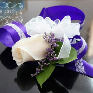 Fresh cream rose and purple limonium wristlet corsage, with purple and lace band - Toronto Wedding Flowers Created by Secrets Floral Collection