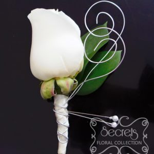 Fresh cream rose boutonniere with silver wrapping and silver-wire curls (front-view) - Toronto Wedding Flowers Created by Secrets Floral Collection