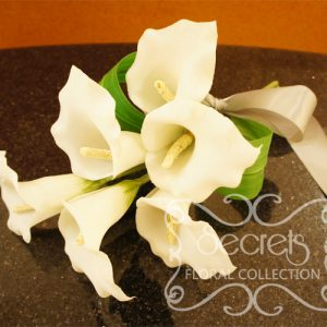 Artificial 6-bloom White Calla Lilies Bridesmaid Bouquet with Silver Satin Bow (Top View) - Toronto Wedding Flowers Created by Secrets Floral Collection