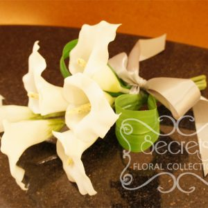 Artificial 6-bloom White Calla Lilies Bridesmaid Bouquet with Silver Satin Bow (Side View) - Toronto Wedding Flowers Created by Secrets Floral Collection
