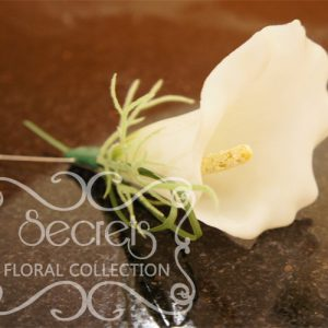 Artificial White Calla Lily Boutonniere with Pearl Pin (Top View) - Toronto Wedding Flowers Created by Secrets Floral Collection