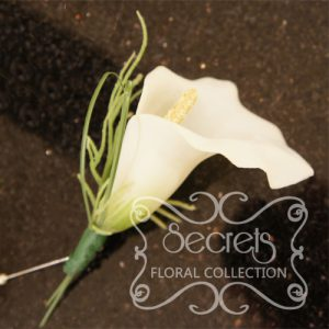 Artificial White Calla Lily Boutonniere with Pearl Pin (Front View) - Toronto Wedding Flowers Created by Secrets Floral Collection