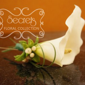 Artificial White Calla Lily and Snowberries Boutonniere with Pearl Pin - Toronto Wedding Flowers Created by Secrets Floral Collection
