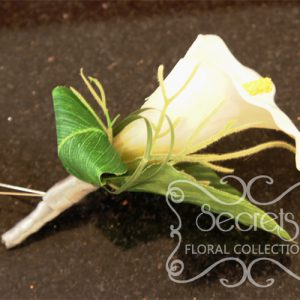 Artificial White Calla Lily Boutonniere with Silver Ribbon Wrap and Double Pearl Pins (Front View) - Toronto Wedding Flowers Created by Secrets Floral Collection