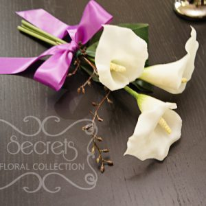Artificial 3-bloom White Calla Lilies and Brown Eucalyptus Seeds Bridesmaid Bouquet with Lavender Satin Bow (Top View) - Toronto Wedding Flowers Created by Secrets Floral Collection