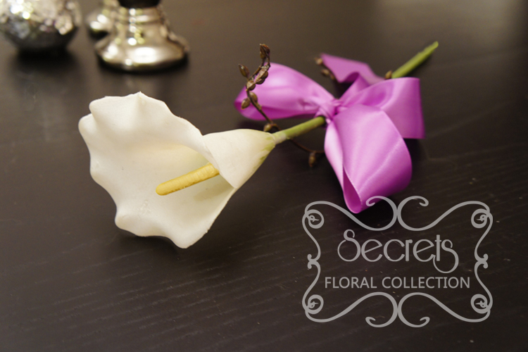 Artificial Single-bloom White Calla Lily and Brown Eucalyptus Seeds ...