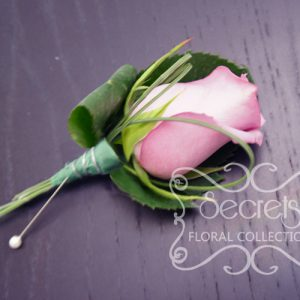 Fresh Lavender Rose and Bear Grass Boutonniere with Wiring Design and Pearl Pin (Front View) - Toronto Wedding Flowers Created by Secrets Floral Collection