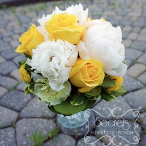 Fresh white peonies, yellow roses, light green carnations, and yellow button mums bridesmaid bouquet (top-view) - Toronto Wedding Flowers Created by Secrets Floral Collection