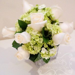 Fresh Cream Roses and Green Mini Hydrangea Bridesmaid Bouquet - Toronto Wedding Flowers Created by Secrets Floral Collection