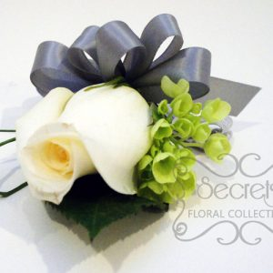 Fresh Cream Rose with Green Mini Hyrdangea Wristlet - Toronto Wedding Flowers Created by Secrets Floral Collection