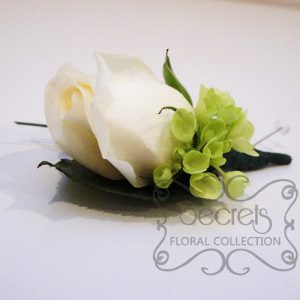 Fresh Cream Rose and Green Mini Hydrangea Boutonniere with Diamond Pin - Toronto Wedding Flowers Created by Secrets Floral Collection