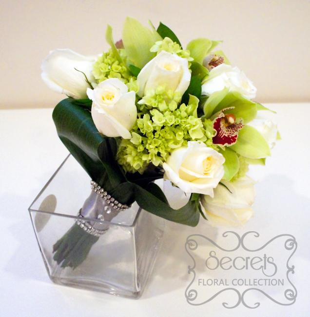 Fresh Green Cymbidium Orchids Cream Roses Mini Hydrangea Bridal Bouquet With Swarovski Crystal Handle Side View