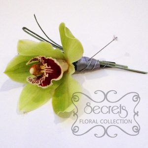 Fresh Green Cymbidium Orchid with Wiring Design and Diamond Pin (Side-View) - Toronto Wedding Flowers Created by Secrets Floral Collection