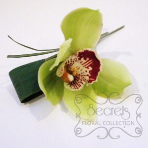 Fresh Green Cymbidium Orchid with Wiring Design and Diamond Pin (Top-View) - Toronto Wedding Flowers Created by Secrets Floral Collection