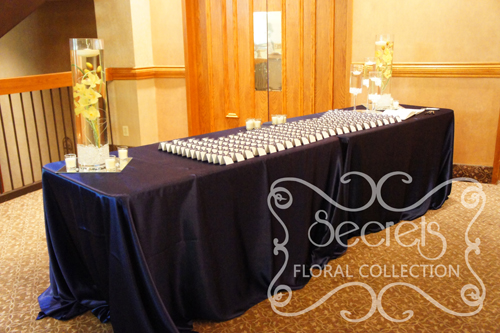 A Navy Blue And Silver Wedding Reception Decoration Toronto