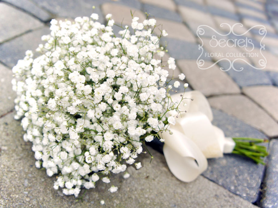 Fresh Cream Hydrangea And Baby S Breath Bridesmaid Bouquet With Ivory Satin Wrap Secrets
