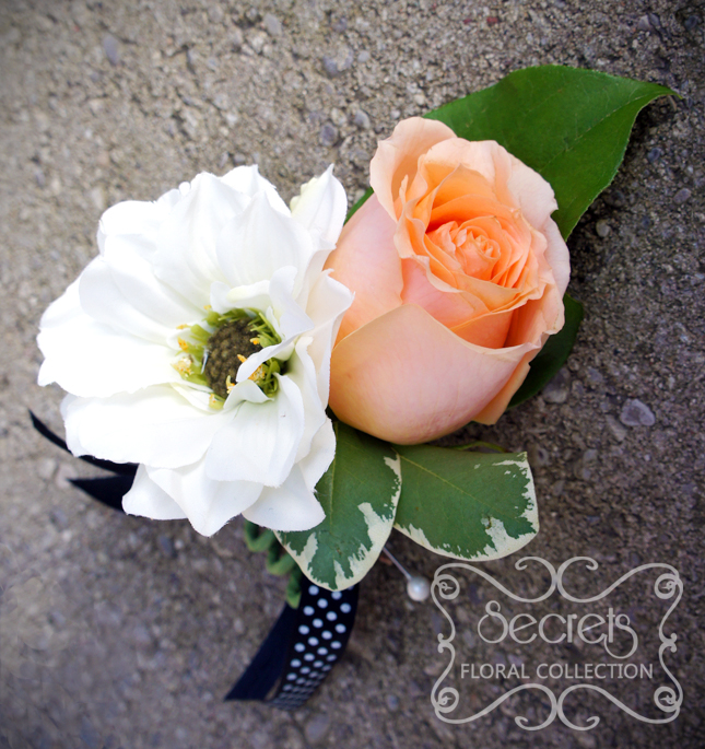 Peach Garden Rose Boutonniere fresh peach rose and white dahlia boutonniere, embellished with