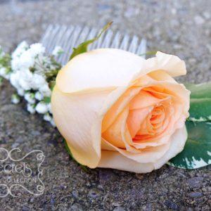 Fresh peach rose and baby's breath flower girl hair comb