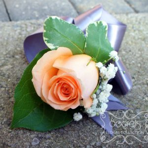 Fresh peach rose and baby's breath wristlet corsage, with silver satin band (top-view) - Toronto Wedding Flowers Created by Secrets Floral Collection
