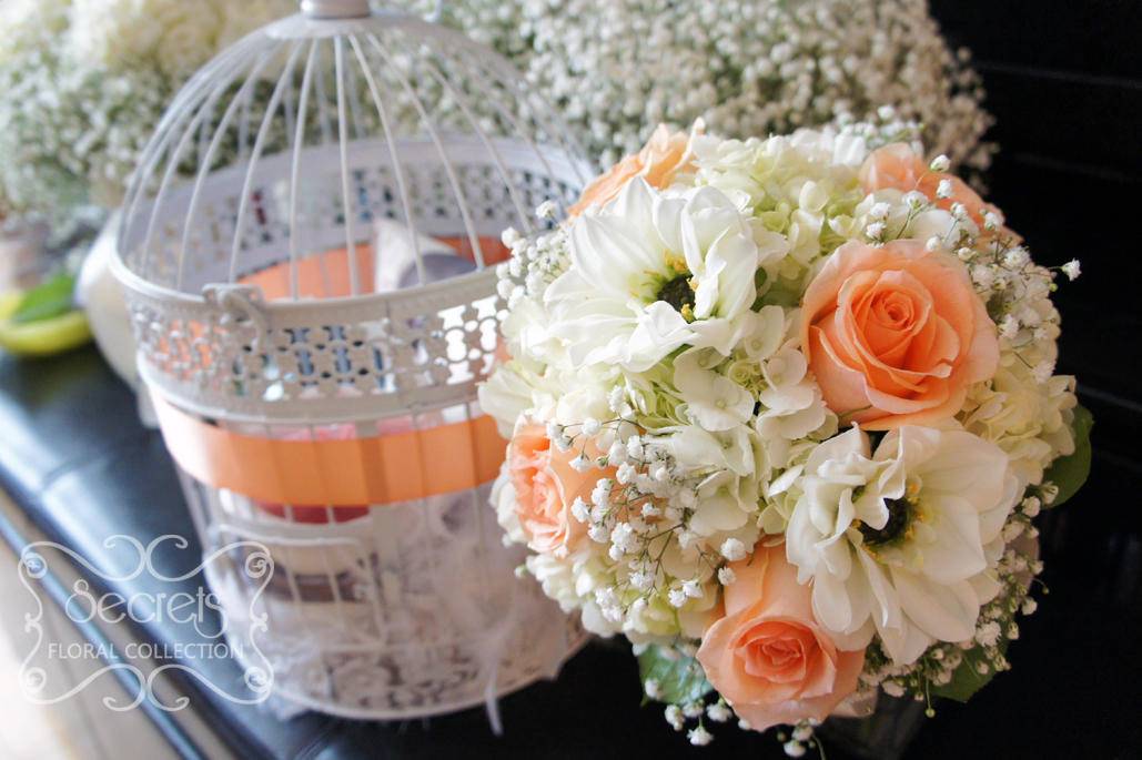 Artificial flowers archives secrets floral collection fresh peach roses white dahlia cream hydrangea and babys breath bridal bouquet mightylinksfo