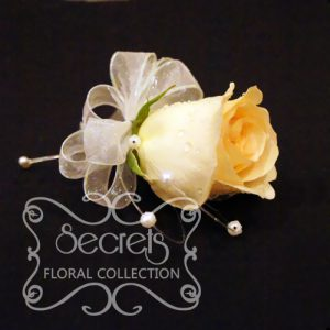 Fresh Champagne Rose and Pittosporum Pin-On Corsage with Pearl Strands Accent (Top View) - Toronto Wedding Flowers Created by Secrets Floral Collection