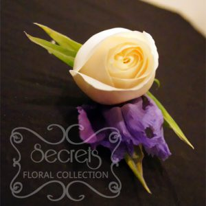 Fresh Cream Rose and Purple Iris Boutonniere with Diamond Pin (Top View) - Toronto Wedding Flowers Created by Secrets Floral Collection
