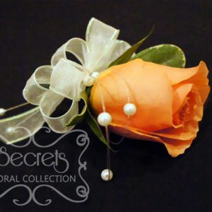 Fresh Coral Rose and Pittosporum Pin-On Corsage with Pearl Strands Accent (Side View) - Toronto Wedding Flowers Created by Secrets Floral Collection