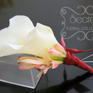 Artificial (soft-touch) white calla lily and pink agapanthus pin-on corsage, with wine red satin wrap and double pearl pins - Toronto Wedding Flowers Created by Secrets Floral Collection