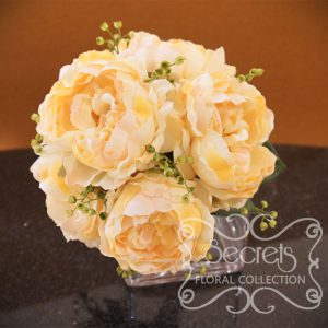 Artificial peach peonies and eucalyptus bridesmaid bouquet (Top View) - Toronto Wedding Flowers Created by Secrets Floral Collection
