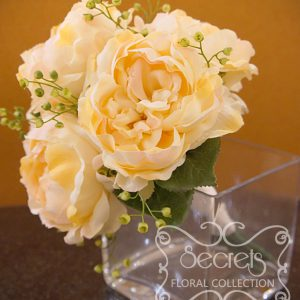 Artificial peach peonies and eucalyptus bridesmaid bouquet (Side View) - Toronto Wedding Flowers Created by Secrets Floral Collection