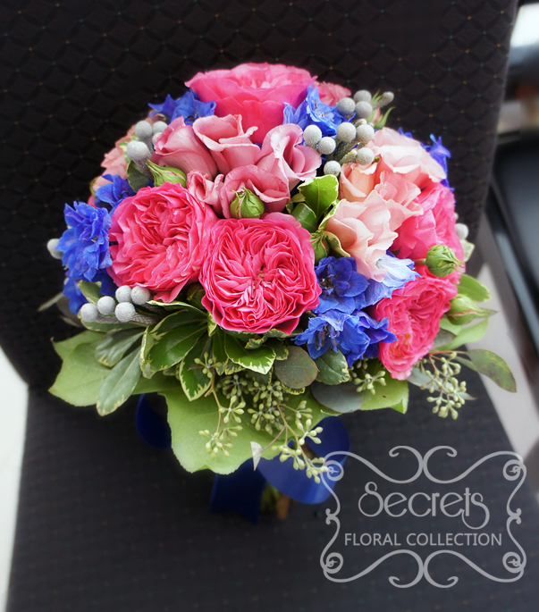 Dark Pink Wedding Flowers: Fresh Fuchsia Garden Roses, Medium Pink Lisianthus,dark