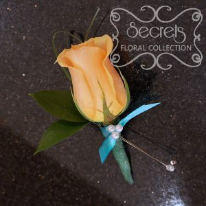 Fresh peach rose and bear grass pin-on corsage with tiffany blue ribbon and pearl embellishments - Toronto Wedding Flowers Created by Secrets Floral Collection