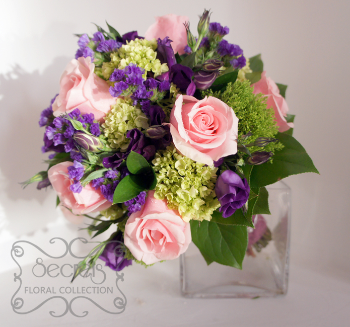 A Bridal Bouquet With Lots Of Textures Created Fresh Light Pink Roses Purple