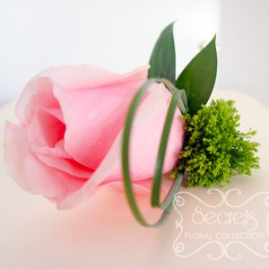 Fresh light pink rose and green trachelium boutonnière, embellished with pearls and chocolate brown wrap (top-view) - Toronto Wedding Flowers Created by Secrets Floral Collection