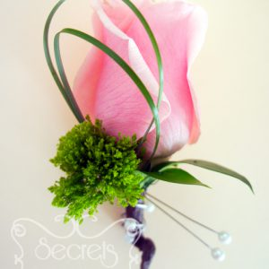 Fresh light pink rose and green trachelium boutonnière, embellished with pearls and chocolate brown wrap (front-view) - Toronto Wedding Flowers Created by Secrets Floral Collection
