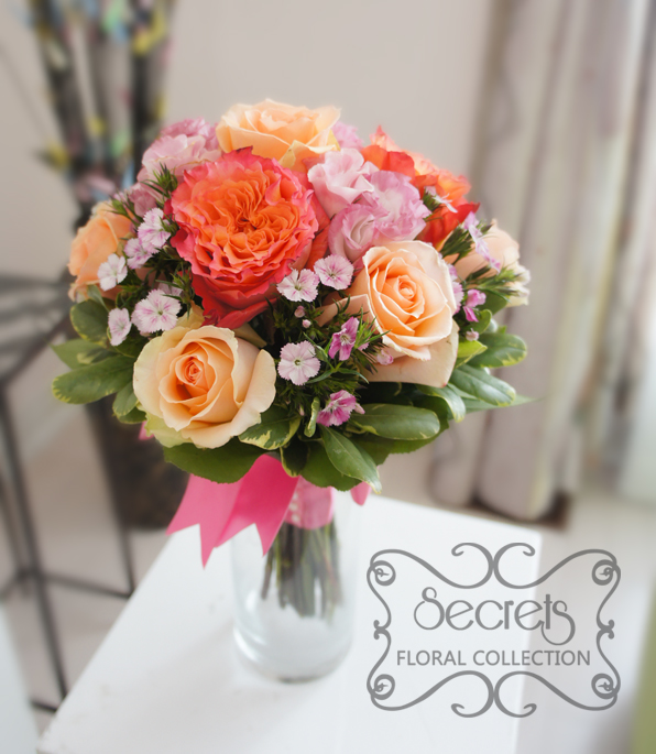 Peach Garden Rose Bouquet