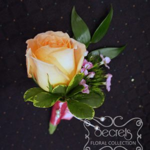 Fresh peach rose and pink bi-colour sweet william boutonniere, embellished with coral pink ribbon - Toronto Wedding Flowers Created by Secrets Floral Collection