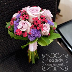 Fresh lavender roses, fuchsia sweet william, lavender statice flower toss bouquet - Toronto Wedding Flowers Created by Secrets Floral Collection