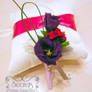 Fresh purple lisianthus, fuchsia sweet william, lily grass, bullion wire embellishments, with silver and lavender ribbon wrap groom boutonniere (front-view) - Toronto Wedding Flowers Created by Secrets Floral Collection