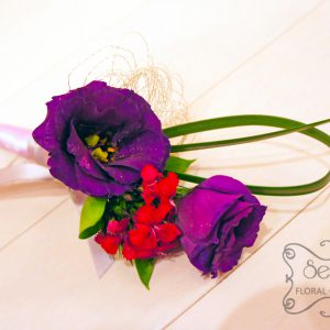 Fresh purple lisianthus, fuchsia sweet william, lily grass, bullion wire embellishments, with silver and lavender ribbon wrap groom boutonniere (top-view) - Toronto Wedding Flowers Created by Secrets Floral Collection