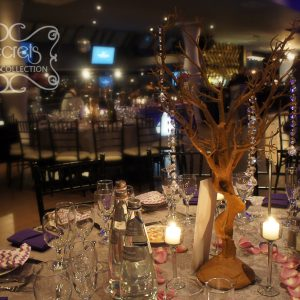 Artificial Manzanita Wedding Tree Centrepiece, with Hanging Crystal Strands and Stemmed Glass Candles