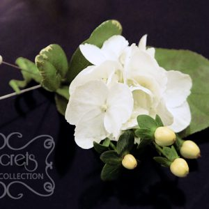 Fresh white hydrangea and ivory hypericum berries boutonniere - Toronto Wedding Flowers Created by Secrets Floral Collection