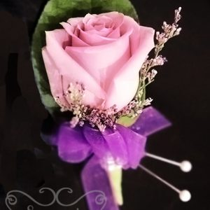 Fresh lavender rose and misty blue limonium boutonniere with crystal embellishment - Toronto Wedding Flowers Created by Secrets Floral Collection