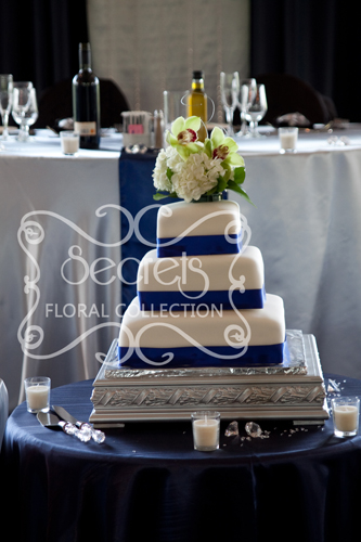 Navy Blue Satin Tablecloth With Black Chair Covers