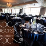 Navy Blue Satin Guest Tables with Black Brocade Chair Covers