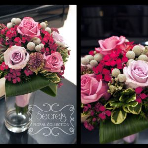 Fresh lavender roses, purple bullet allium, silver brunia berries, and fuchsia sweet william bridesmaid bouquet (close-ups) - Toronto Wedding Flowers Created by Secrets Floral Collection