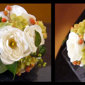 Artificial (real-touch) white ranunculus, green hydrangea, red privet berries, and eucalyptus toss bouquet (Side Views) - Toronto Wedding Flowers Created by Secrets Floral Collection