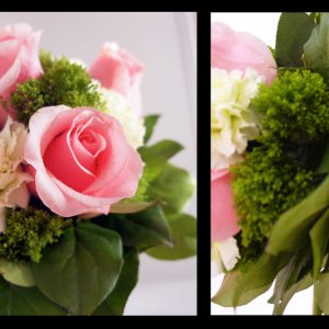Fresh light pink roses, green carnations, and green trachelium bridesmaid bouquet, with silver satin and pearl wrap (Side Views) - Toronto Wedding Flowers Created by Secrets Floral Collection
